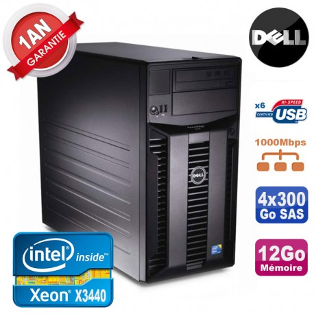 Serveur DELL PowerEdge T310 Xeon Quad Core X3440 12Go Ram Ecc 4x 300Go SAS