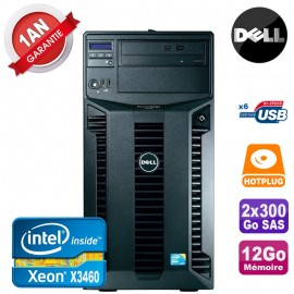 Serveur DELL PowerEdge T310 Xeon Quad Core X3460 12Go Ram Ecc 2x 300Go SAS