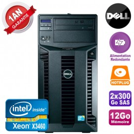 Serveur DELL PowerEdge T310 Xeon X3460 12Go 2x 300Go Alimentation Redondante