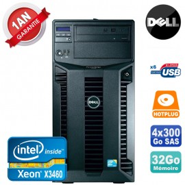 Serveur DELL PowerEdge T310 Xeon Quad Core X3460 32Go Ram Ecc 4x 300Go SAS