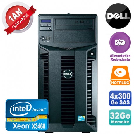 Serveur DELL PowerEdge T310 Xeon X3460 32Go 4x 300Go Alimentation Redondante
