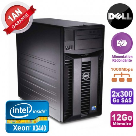 Serveur DELL PowerEdge T310 Xeon X3440 12Go 2x 300Go Alimentation Redondante