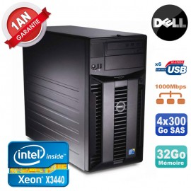 Serveur DELL PowerEdge T310 Xeon Quad Core X3440 32Go Ram Ecc 4x 300Go SAS