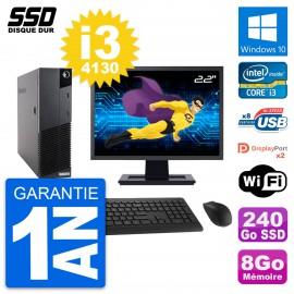 """PC Lenovo M83 SFF Ecran 22"""" Intel Core i3-4130 RAM 8Go SSD 240Go Windows 10 Wifi"""