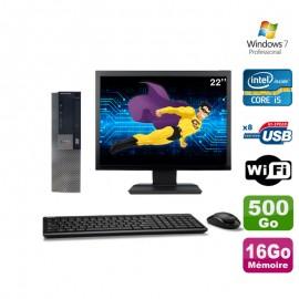 """Lot PC Dell Optiplex 980 SFF I5-650 3.2GHz 16Go 500Go DVD Wifi W7 + Ecran 22"""""""