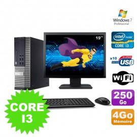 """Lot PC Dell Optiplex 990 SFF I3-2120 3.3GHz 4Go 250Go DVD Wifi W7 + Ecran 19"""""""