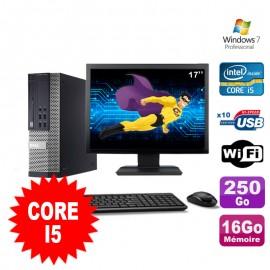 """Lot PC Dell Optiplex 990 SFF I5-2400 3.1GHz 16Go 250Go DVD Wifi W7 + Ecran 17"""""""
