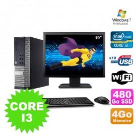 """Lot PC Dell Optiplex 990 SFF I3-2120 3.3GHz 4Go 480Go SSD DVD Wifi W7 + Ecran 19"""""""