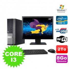 """Lot PC Dell Optiplex 990 SFF I3-2120 3.3GHz 8Go 2000Go DVD Wifi W7 + Ecran 22"""""""