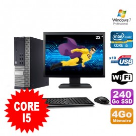 """Lot PC Dell Optiplex 990 SFF I5-2400 3.1GHz 4Go 240Go SSD DVD Wifi W7 + Ecran 22"""""""