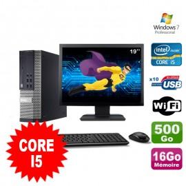 """Lot PC Dell Optiplex 990 SFF I5-2400 3.1GHz 16Go 500Go DVD Wifi W7 + Ecran 19"""""""
