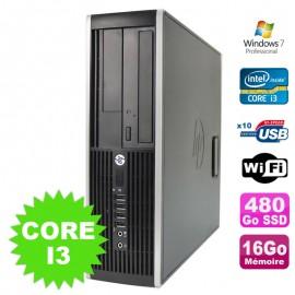 PC HP Compaq Elite 8100 SFF Intel Core I3-530 16Go Disque 480Go SSD DVD WIFI W7