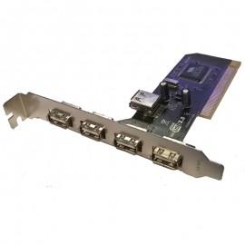 Carte Adaptateur 4+1 Ports USB VIA VT6212L PCI Equerre Longue
