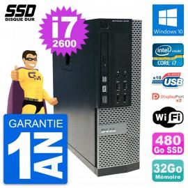 PC Dell OptiPlex 9010 SFF Intel Core i7-2600 RAM 32Go SSD 480Go Windows 10 Wifi