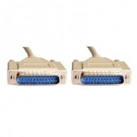 Câble Adaptateur RS232 DB25 Mâle vers DB25 Mâle 90cm Gris