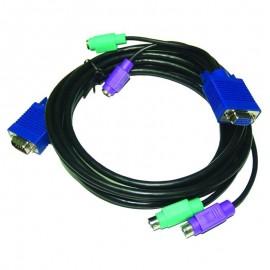 Câble adaptateur KVM VGA + PS/2 Male vers VGA + PS/2 Femelle 4.5m Noir