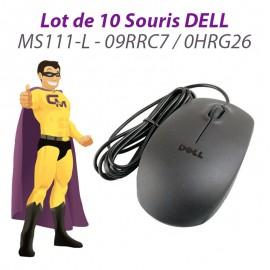 Lot 10x Souris Optique Filaire USB DELL MS111-L 09RRC7 0HRG26 Noire 1000-DPI PC
