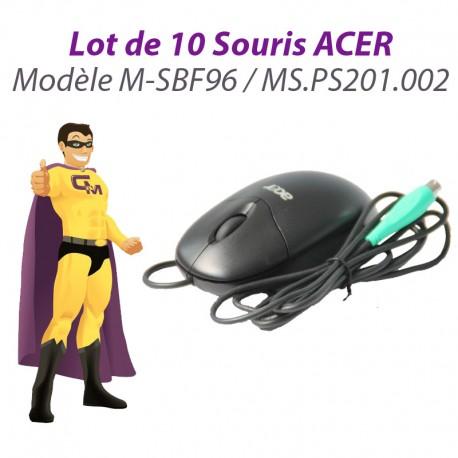 Lot 10x Souris Optique PS/2 ACER M-SBF96 MS.PS201.002 3 Boutons Noir 400-DPI PC