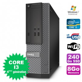 PC Dell Optiplex 3020 SFF Core I3-4130 3.4GHz 8Go Disque 240Go SSD DVD Wifi W7