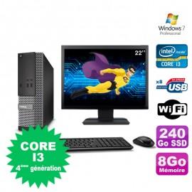 """Lot PC Dell Optiplex 3020 SFF I3-4130 3.4GHz 8Go 240Go DVD Wifi W7 + Ecran 22"""""""