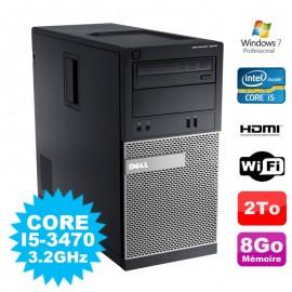 PC Tour DELL Optiplex 3010 MT Intel I5-3470 Graveur 8Go 2000Go HDMI Wifi W7