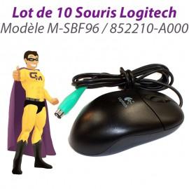 Lot 10x Souris Optique PS/2 Logitech M-SBF96 852210-A000 3 Boutons Noir 400-DPI