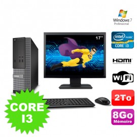 Lot PC DELL 3010 SFF I3-2120 DVD 8Go 2To HDMI Wifi W7 + Ecran 17""