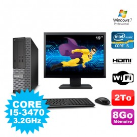 Lot PC DELL 3010 SFF I5-3470 DVD 8Go 2To HDMI Wifi W7 + Ecran 19""
