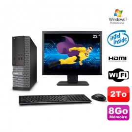 Lot PC DELL 3010 SFF G2020 DVD 8Go 2To HDMI Wifi W7 + Ecran 22""