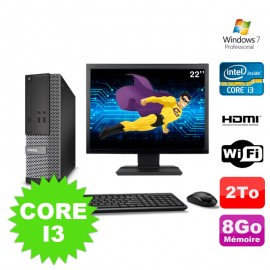Lot PC DELL 3010 SFF I3-2120 DVD 8Go 2To HDMI Wifi W7 + Ecran 22""