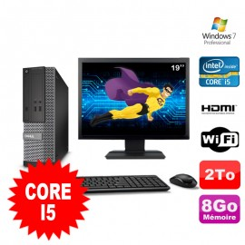 Lot PC DELL 3010 SFF I5-2400 DVD 8Go 2To HDMI Wifi W7 + Ecran 19""
