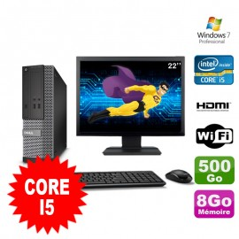 Lot PC DELL 3010 SFF I5-2400 DVD 8Go 500Go HDMI Wifi W7 + Ecran 22""