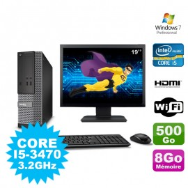 Lot PC DELL 3010 SFF I5-3470 DVD 8Go 500Go HDMI Wifi W7 + Ecran 19""