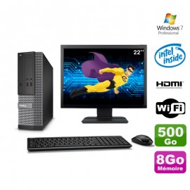 Lot PC DELL 3010 SFF G2020 DVD 8Go 500Go HDMI Wifi W7 + Ecran 22""