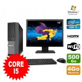 """Lot PC DELL 3010 SFF I5-2400 DVD 4Go 500Go HDMI Wifi W7 + Ecran 19"""""""