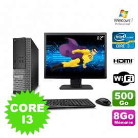 Lot PC DELL 3010 SFF I3-2120 DVD 8Go 500Go HDMI Wifi W7 + Ecran 22""