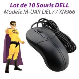 Lot x10 Souris Optiques USB Filaires DELL M-UAR DEL7 XN966 PC Mouse Noires
