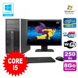 Lot PC Tour HP 8200 Core I5 3.1Ghz 8Go 250Go Graveur WIFI W7 + Ecran 22