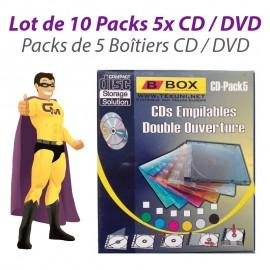 Lot x10 Boîtes Etuis Classeurs Rangement Boitier Empilable Disque DVD CD Pack x5