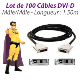 Lot x100 Câbles DVI-D Ecran Plat NUMERIQUE Digital Visual Male/Male 1.5m Ferrite
