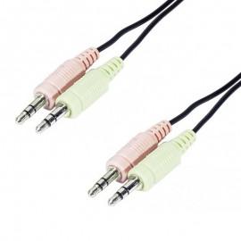 Câble 2x Audio 2x Micro Jack Mâle/Mâle 3.5mm 180cm Noir NEUF