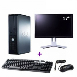 Lot PC DELL Optiplex 380 DT Core 2 Duo E7500 2,93Ghz 4Go 1To W7 pro + Ecran 17""