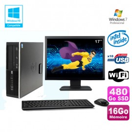 "Lot PC HP 8100 SFF G6950 2,8 GHz 16Go 480Go SSD Wifi Graveur W7 Ecran 17"""