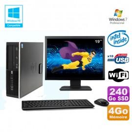 "Lot PC HP 8100 SFF G6950 2,8 GHz 4Go 240Go SSD Wifi Graveur W7 Pro Ecran 19"""