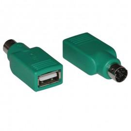 Adaptateur PS/2 Mâle vers USB 2.0 Femelle Clavier Souris Vert Keyboard Mouse