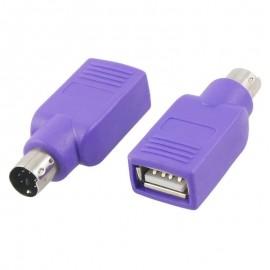 Adaptateur PS/2 Mâle vers USB 2.0 Femelle Clavier Souris Violet Keyboard Mouse
