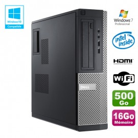 PC DELL Optiplex 390 DT G630 2.7Ghz 16Go 500Go DVD WIFI HDMI W7