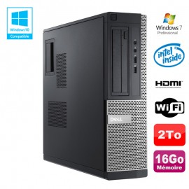 PC DELL Optiplex 390 DT G630 2.7Ghz 16Go 2To DVD WIFI HDMI W7