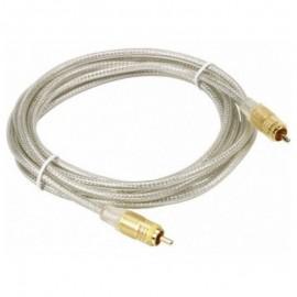 Câble Cordon Vidéo RCA Mâle THOMSON KHC012M 1.5m Transparent plaqué OR NEUF