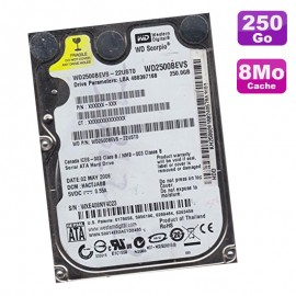 "Disque Dur 250Go SATA 2.5"" Western Digital WD2500BEVS-22UST0 Scorpio 8Mo"